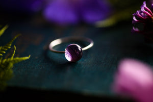 Real hydrangea petal stacking ring