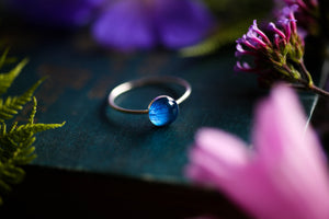 Turquoise hydrangea stacking ring