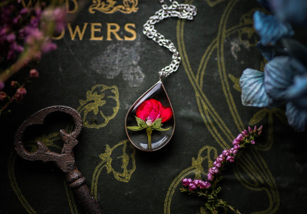 Sterling silver rosebud necklace