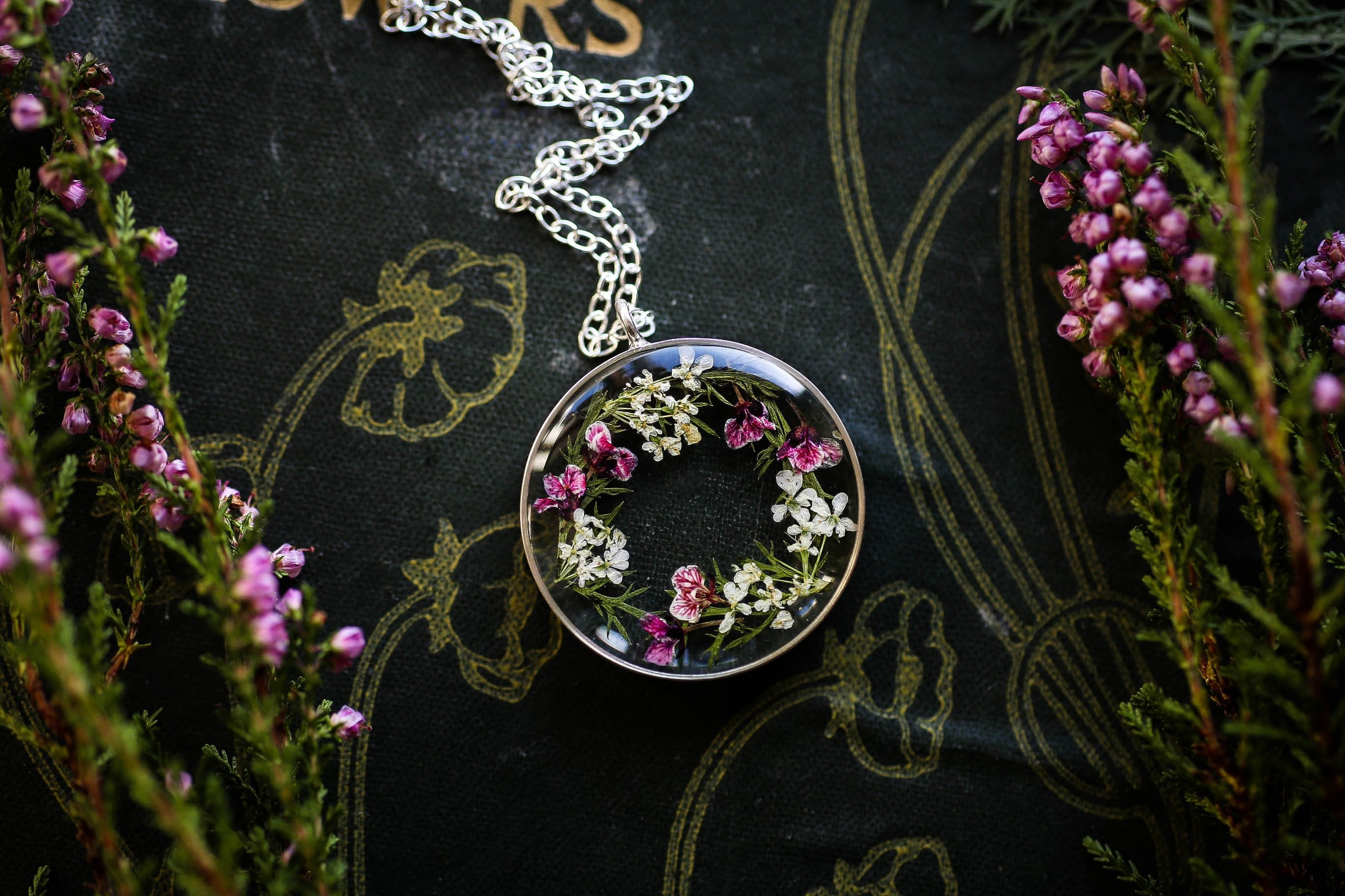 Sterling silver floral wreath locket
