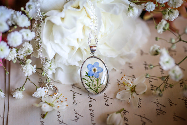 Forget me not locket necklace