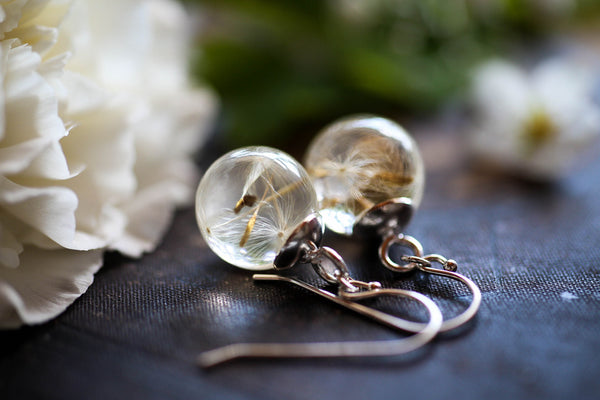 Dandelion wish earrings in Sterling silver