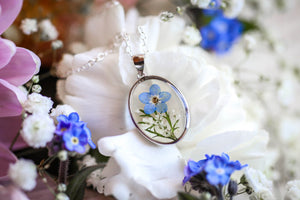 real flower locket dainty necklaces