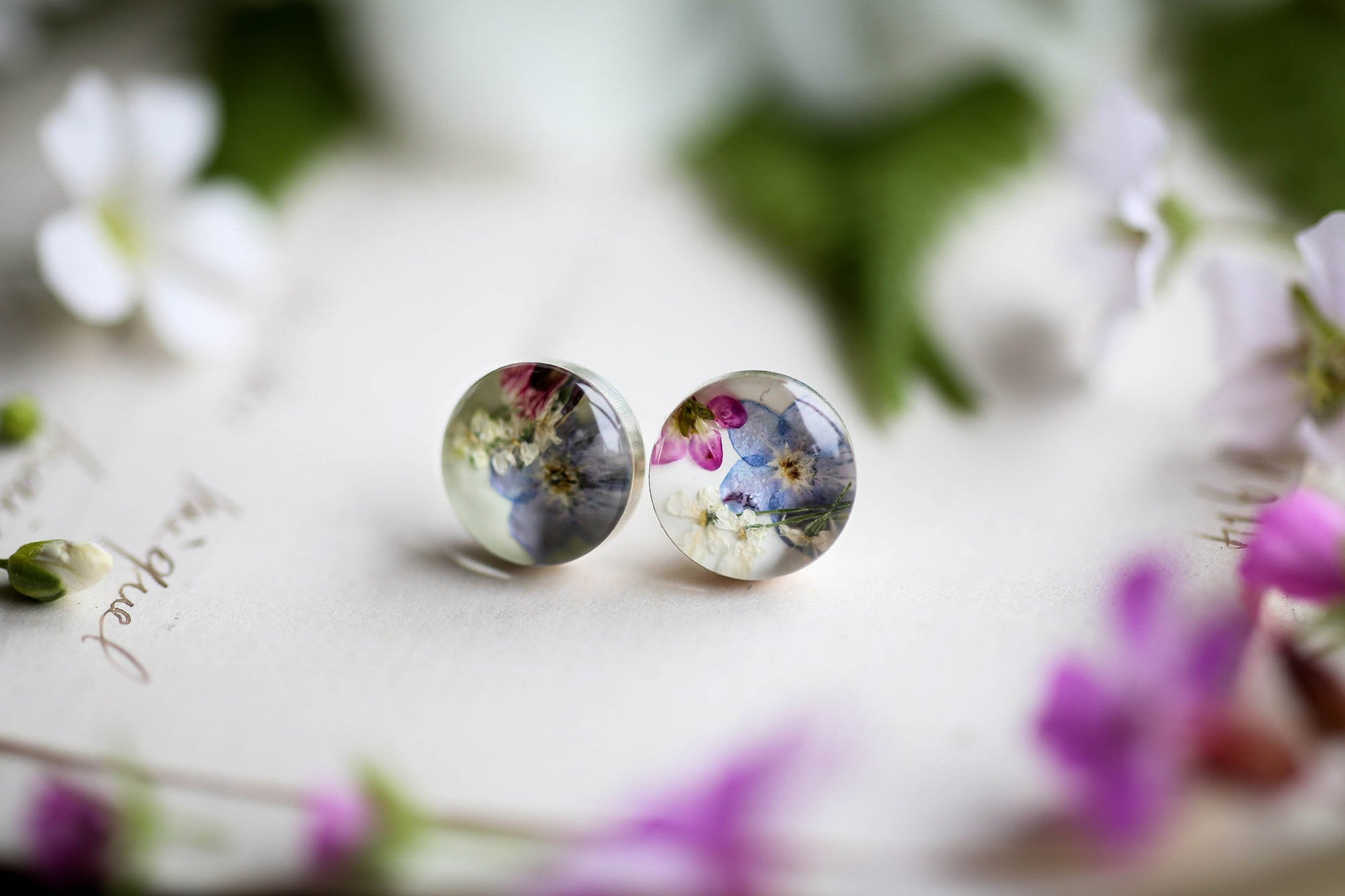 Forget me Not and Queen Annes lace Earrings