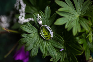 Tiny fern leaf locket