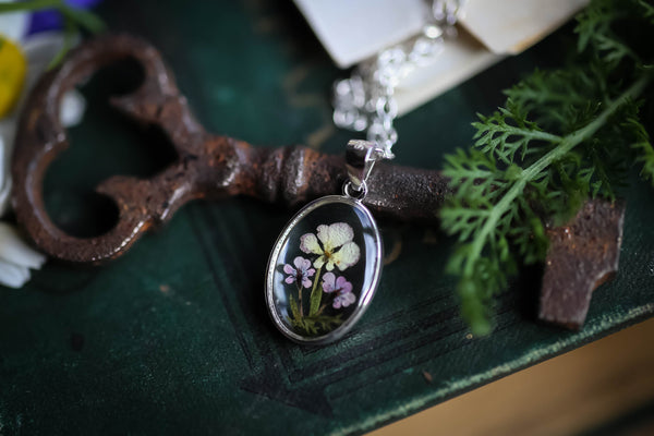 Tiny Queen Annes lace locket necklace
