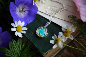 Turquoise blue flower wreath pendant