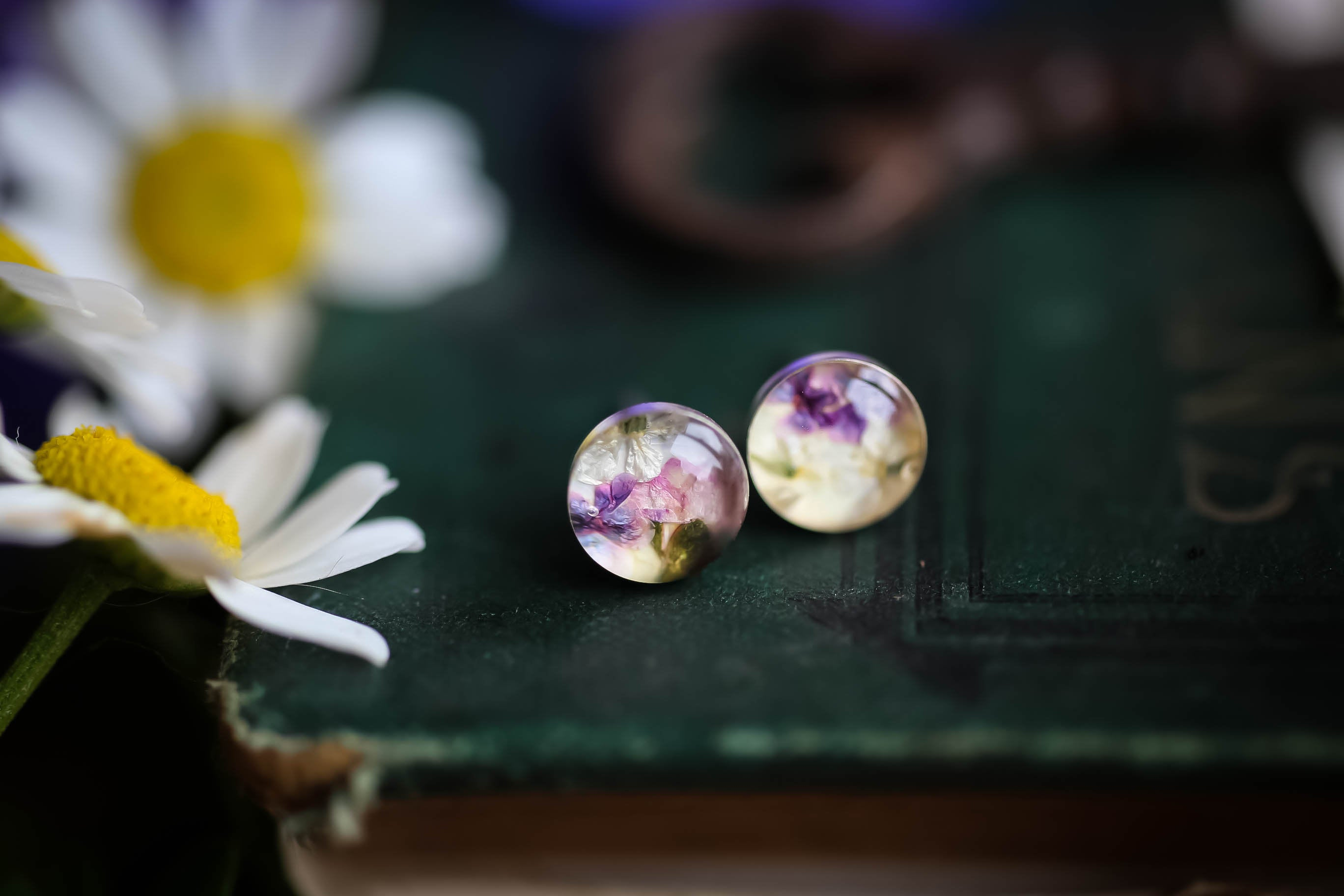 Real Flower Sterling Silver studs