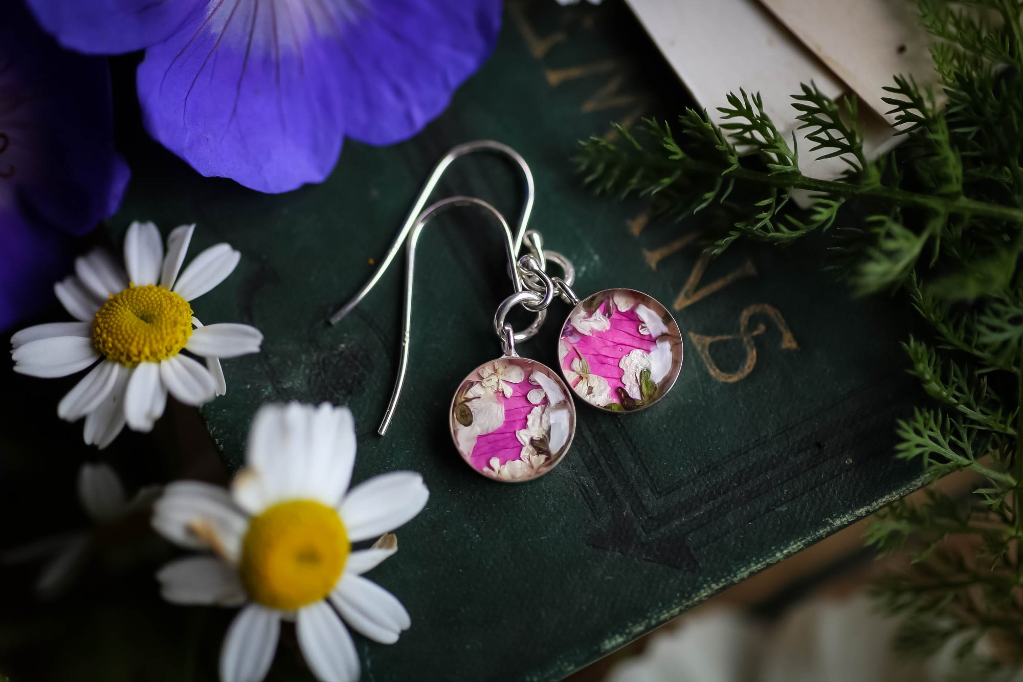 Rose floral wreath earrings