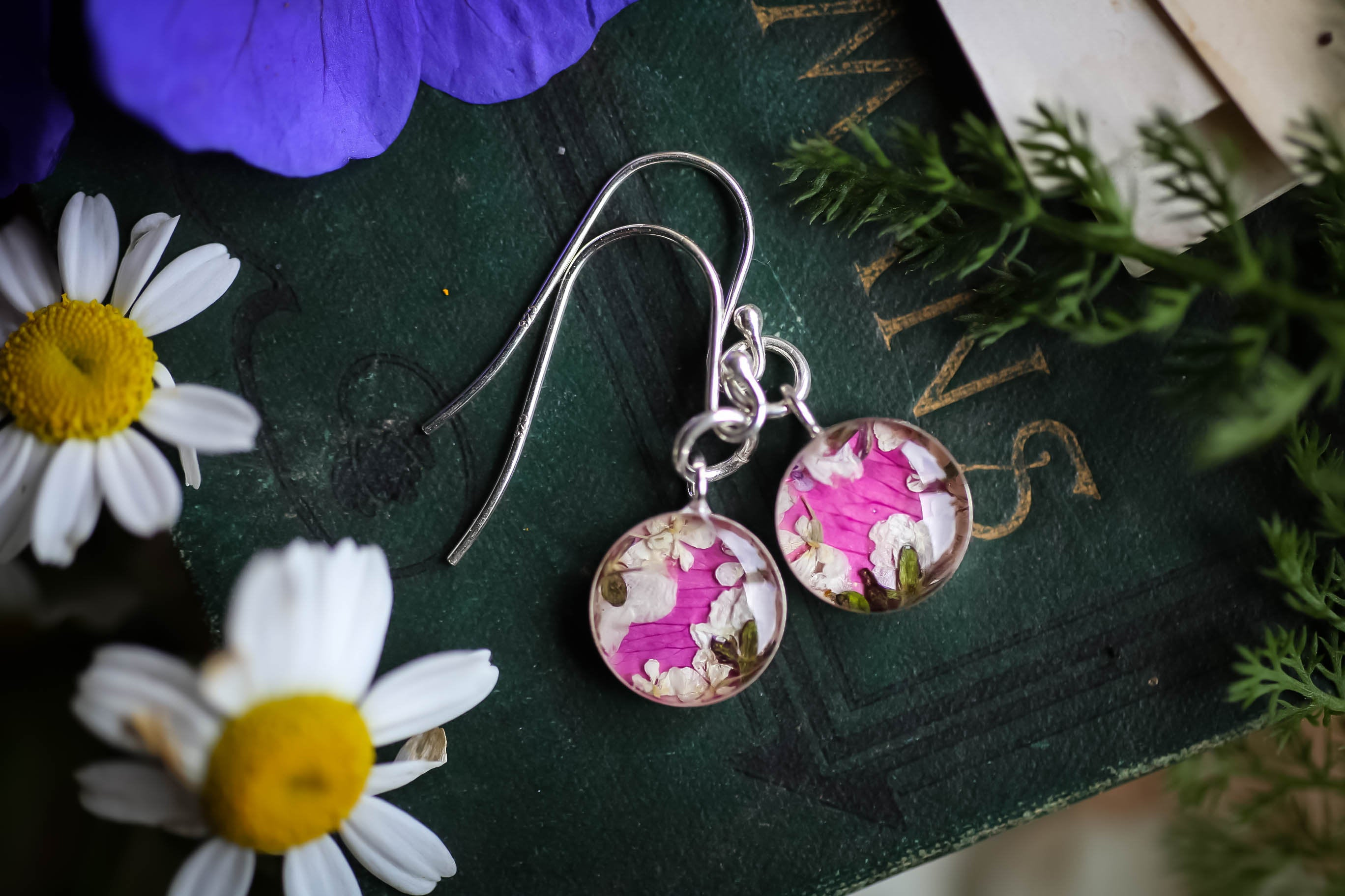 Rose pink floral wreath earrings