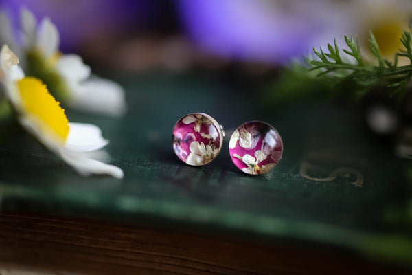 Wild rose flower confetti earrings