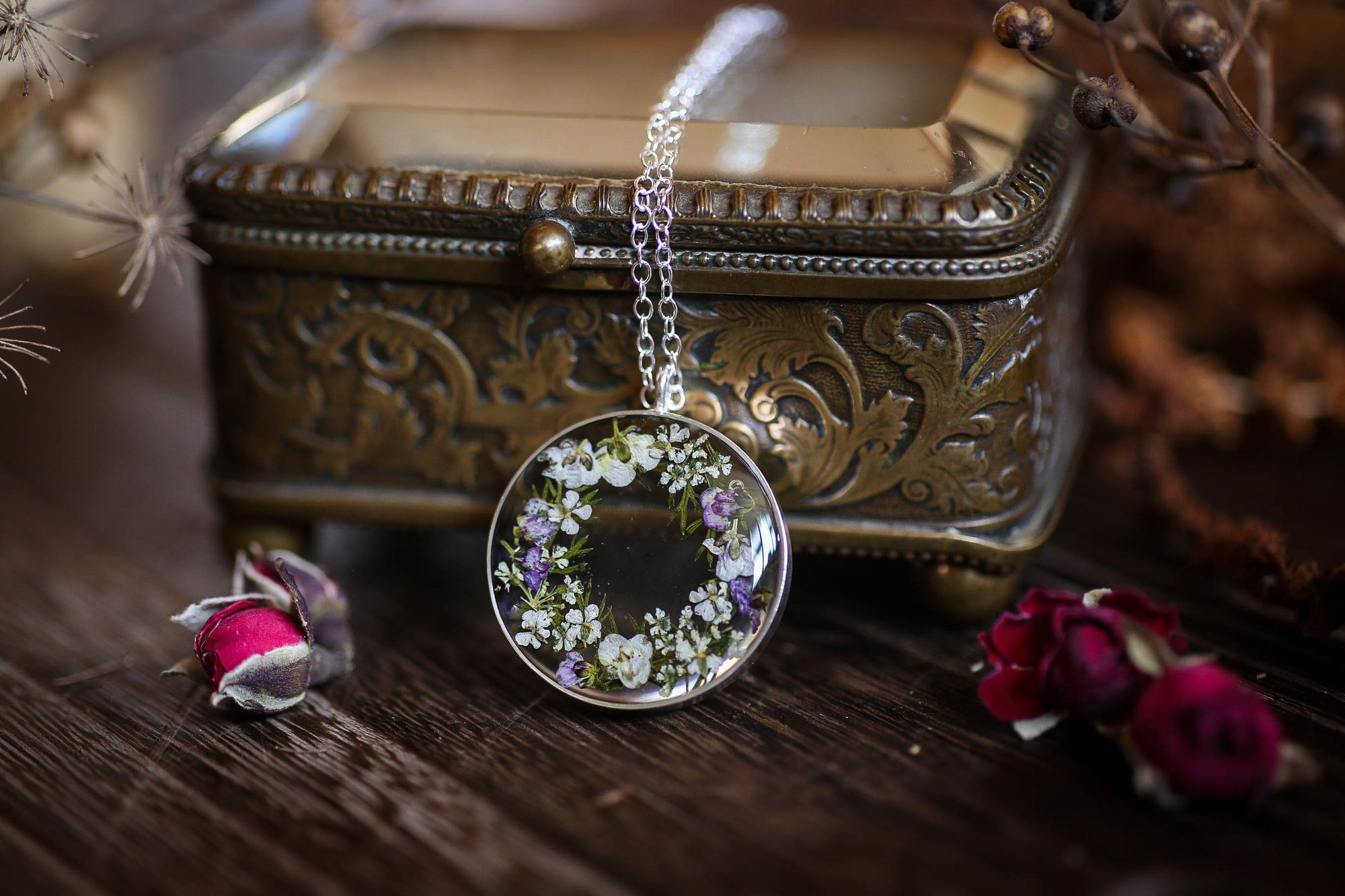 Flower locket irish jewelry