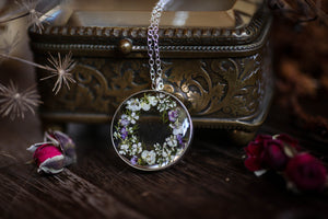 sterling silver resin necklace with real flowers