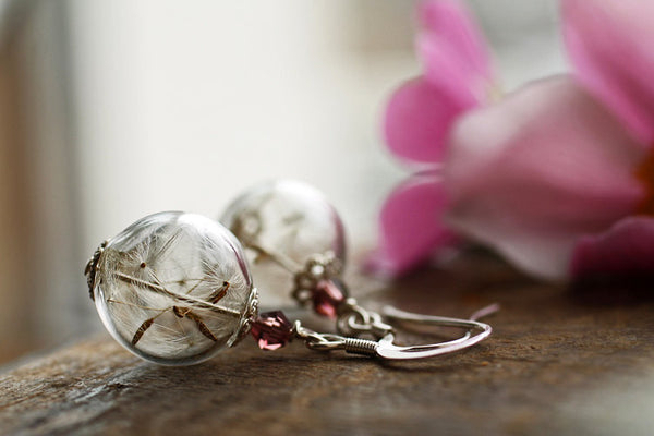 Sterling silver Dandelion dangle earrings
