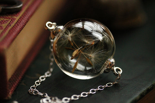 Silver dandelion wish necklace  #D9