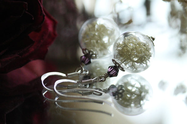 White moss earrings - Sterling silver