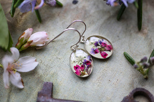 pressed pink flower earrings