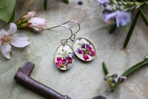 real flower earrings in sterling silver