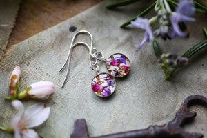Sterling silver earrings handmade resin flower jewellery