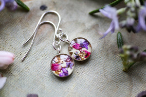 Pink floral earrings gift for garden lover