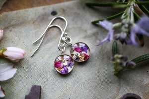 Flower confetti earrings ~ dainty floral jewellery ~ silver dangle earrings