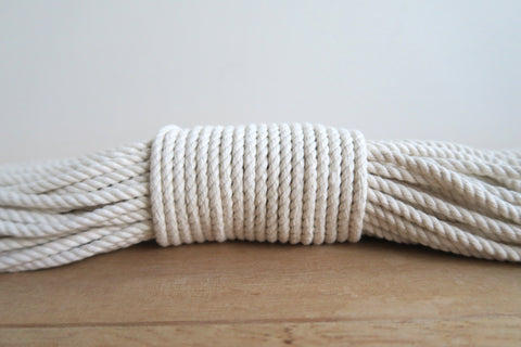 4mm 3 strand Macrame Rope  - White