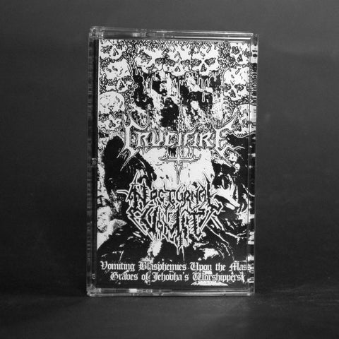 "CRUCIFIRE / NOCTURNAL VOMIT ""Vomiting Blasphemies Upon the Mass Graves of Jehovah's Worshippers"" Pro-MC"