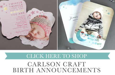 carlson craft birth announcements sold by maxim creative invites