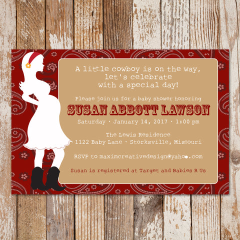 Cowgirl Baby Shower, Cowboy Baby Shower, or Printable Baby Shower Invitation - maximcreativeinvites