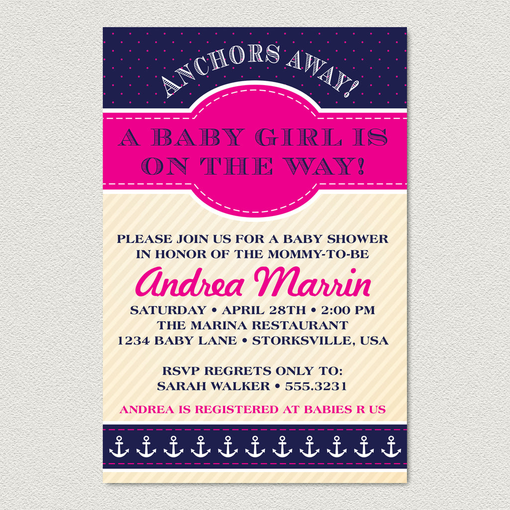 anchor elegant rectangle modern baby with shower and border blue white rope sailboat invitation ail classy invitations boat nautical