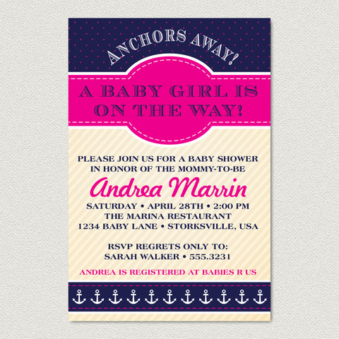 Nautical Baby Shower Invitation - Anchors Away Girl Baby Shower Invitation