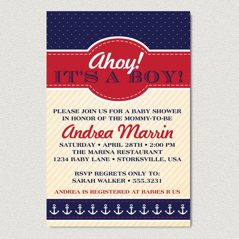Nautical Baby Shower Invitation - Ahoy It's A Boy Baby Shower Invitation