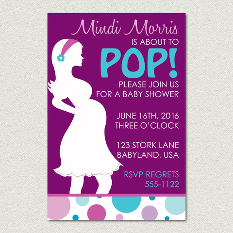 About to Pop Baby Shower Invitation - Baby Bump Shower Invitation - maximcreativeinvites