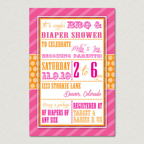 Diaper Shower Baby Shower Invitation - Pink Stripe Baby Shower Invitation - maximcreativeinvites