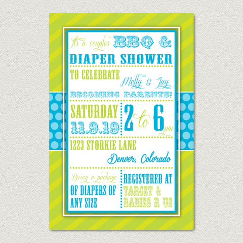 Diaper Shower Baby Shower Invitation - Green Stripe Baby Shower Invitation