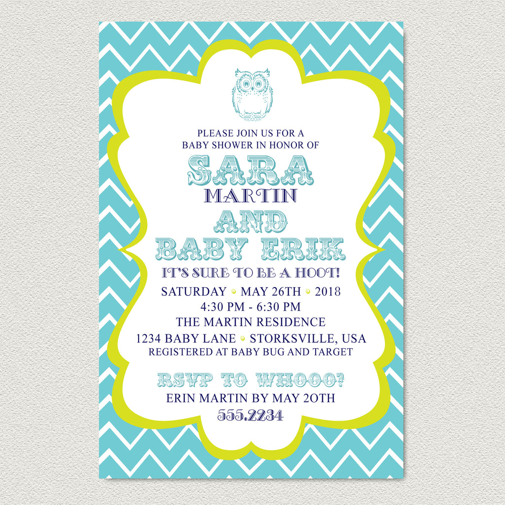 Chevron Owl Baby Shower Invitation - Teal Chevron Baby Shower Invitation - maximcreativeinvites