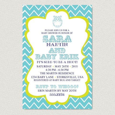 Chevron Owl Baby Shower Invitation - Teal Chevron Baby Shower Invitation
