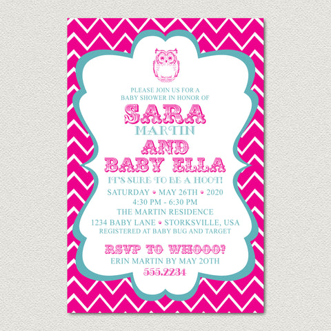 Chevron Owl Baby Shower Invitation - Pink Chevron Baby Shower Invitation