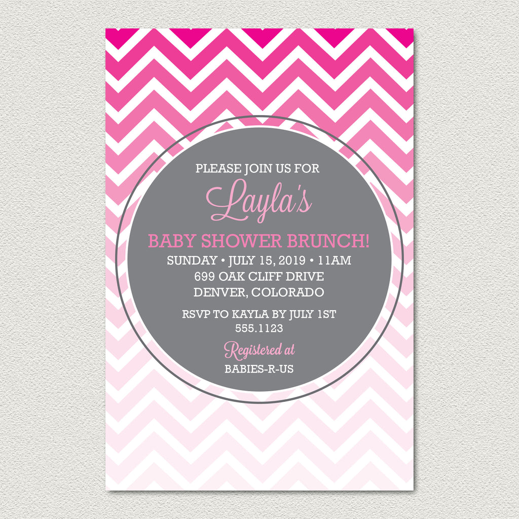 Ombre Chevron Baby Shower Invitation -  Modern Pink and Gray Chevron Baby Shower Invitation - maximcreativeinvites