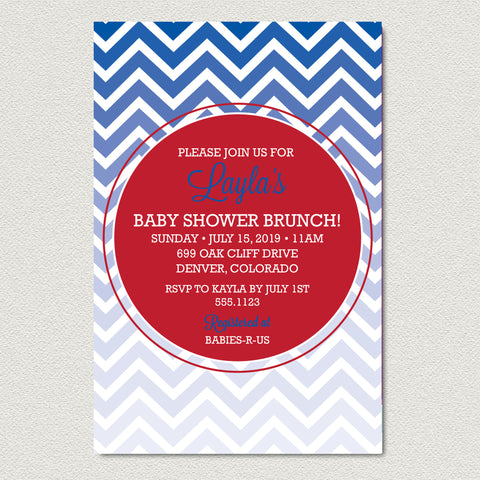 Ombre Chevron Baby Shower Invitation -  Modern Red and Blue Chevron Baby Shower Invitation - maximcreativeinvites