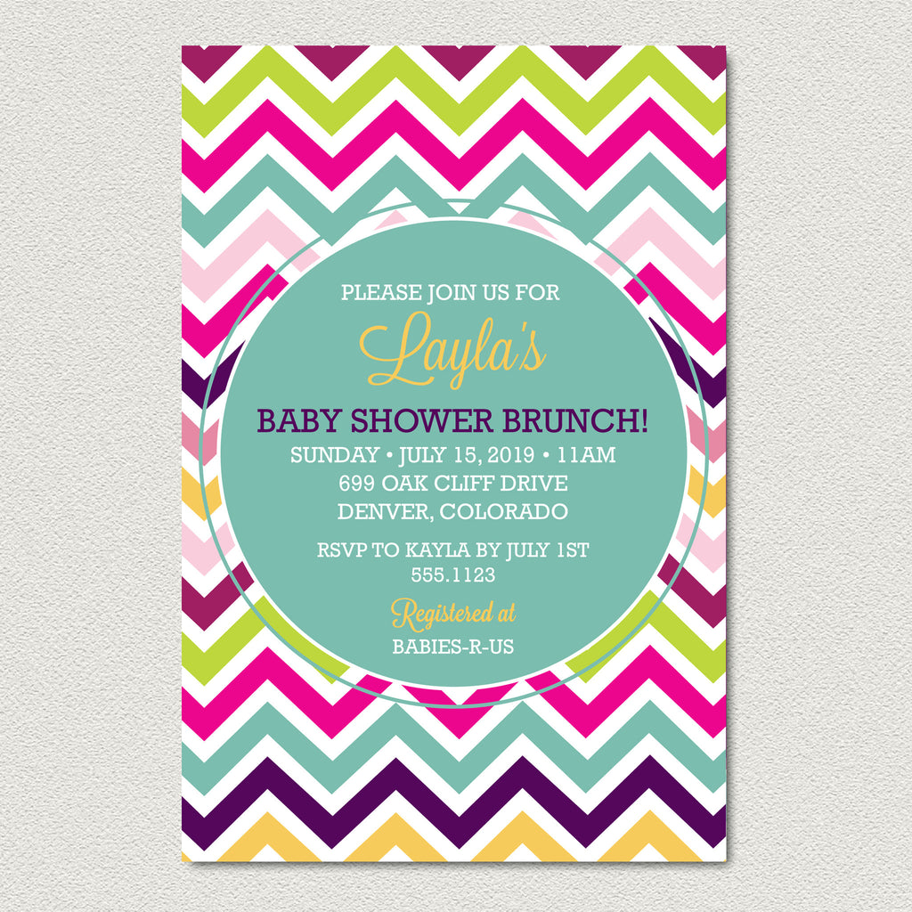 Ombre Chevron Baby Shower Invitation -  Modern Rainbow Chevron Baby Shower Invitation - maximcreativeinvites