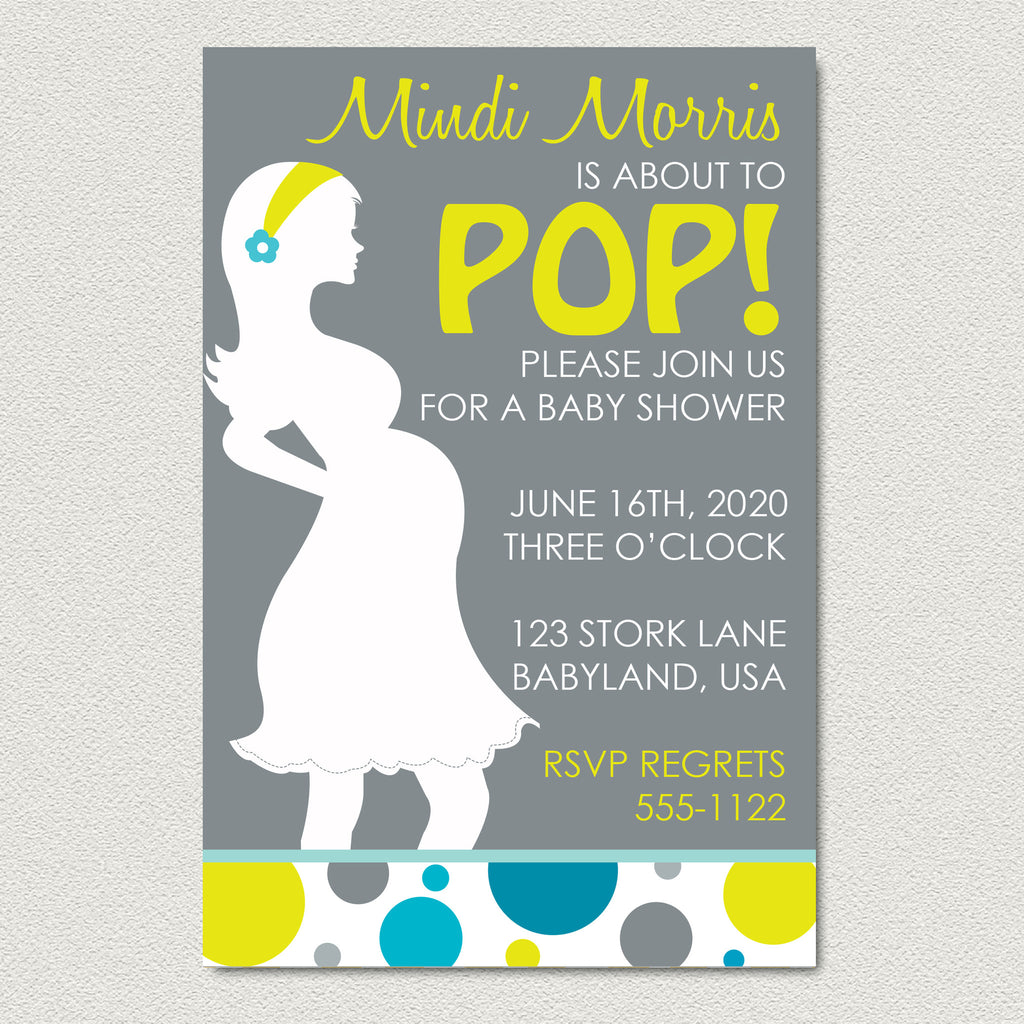 About to Pop Baby Shower Invitation Baby Boy Baby Bump Shower