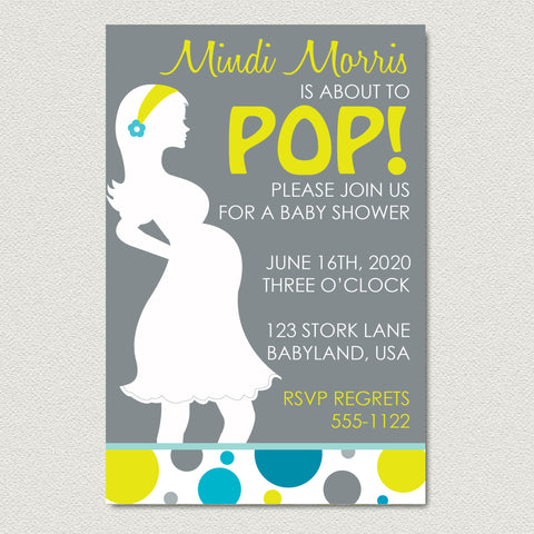 About to Pop Baby Shower Invitation - Baby Boy Baby Bump Shower Invitation