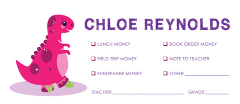 Pink Dinosaur School Money Envelope | School Supplies Money Envelope | Field Trip Envelope