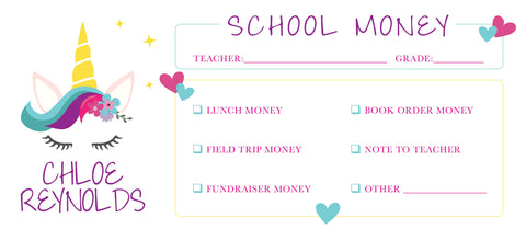 Magical Unicorn School Money Envelope | School Supplies Money Envelope | Field Trip Envelope