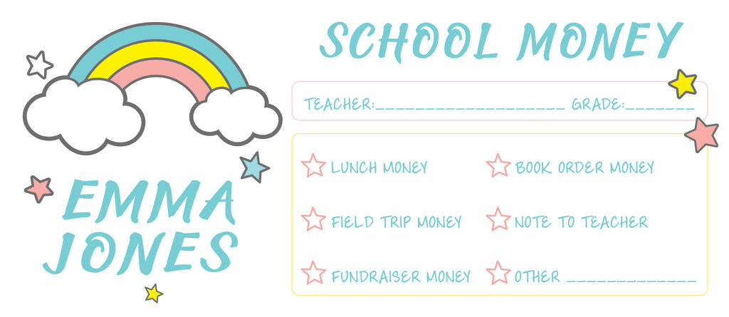 Over The Rainbow School Money Envelope | School Supplies Money Envelope | Field Trip Envelope