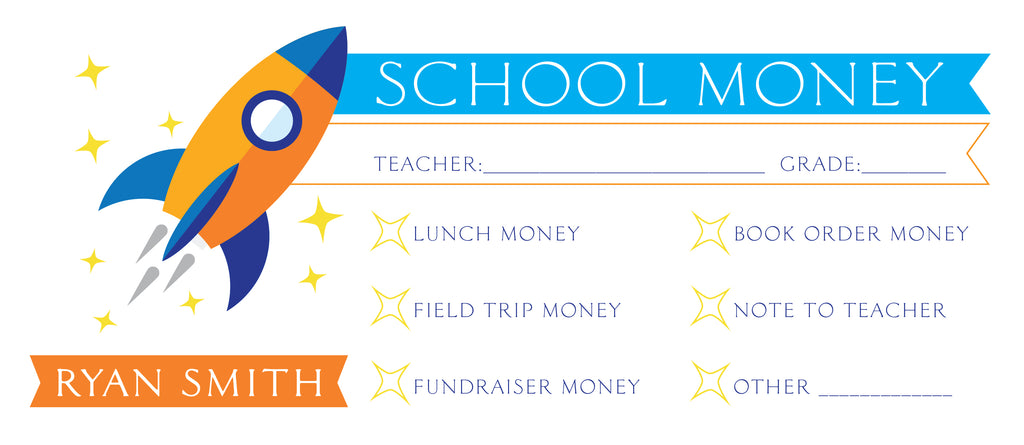 Rocket Ship School Money Envelope | School Supplies Money Envelope | Field Trip Envelope