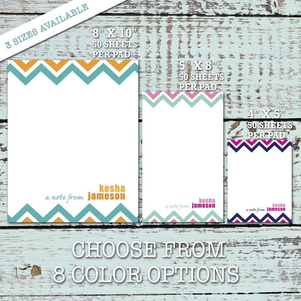 Personalized NOTEPAD, Chevron Pattern TEACHER PAD - Style NP13 - maximcreativeinvites