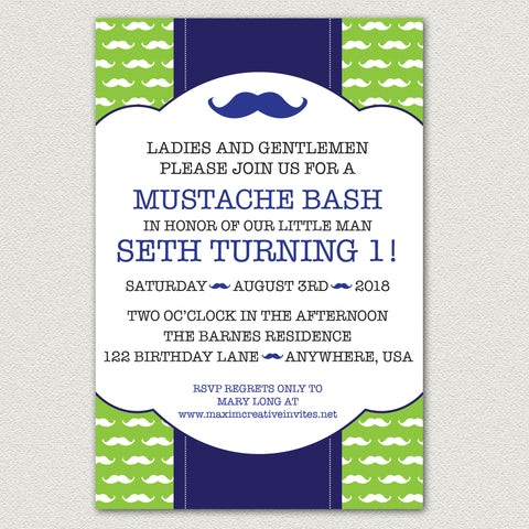 Little Man MUSTACHE BIRTHDAY Invitation or MUSTACHE PRINTABLE Birthday Invitation