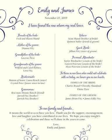 Elegant Swirl Wedding Program